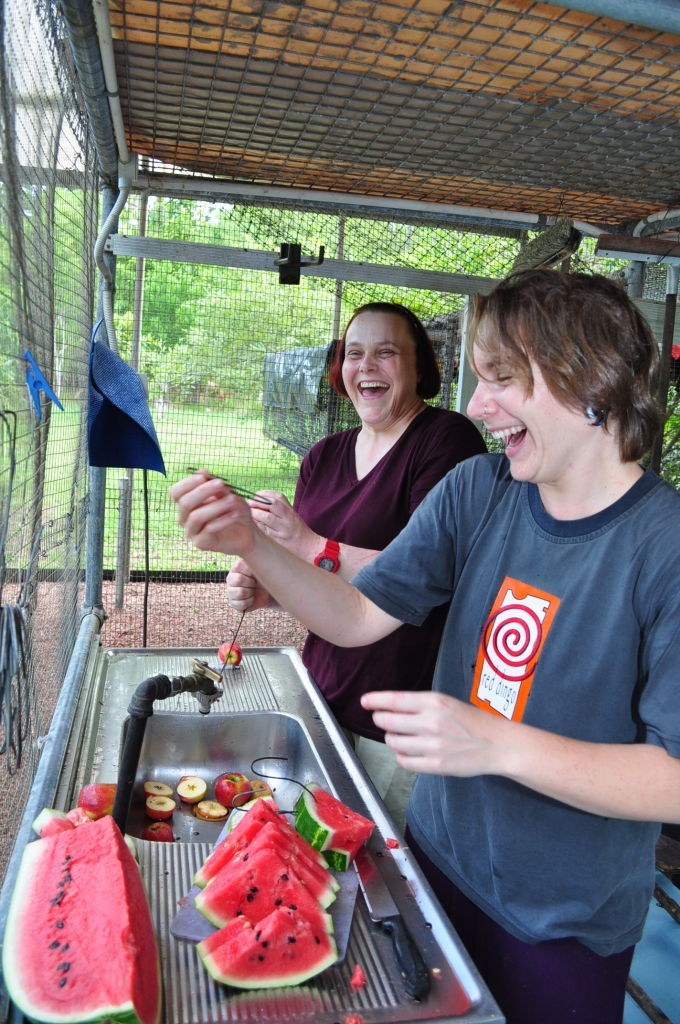 Liz and Jenny 2014 having fun time getting food ready in the big cage.