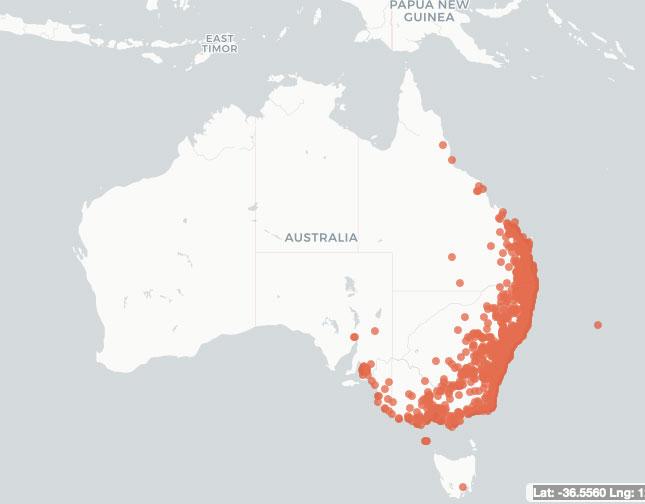 Grey-headed flying fox records from Atlas of Living Australia